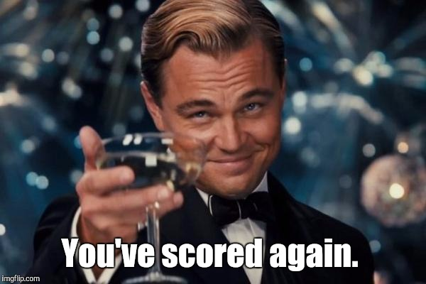 Leonardo Dicaprio Cheers Meme | You've scored again. | image tagged in memes,leonardo dicaprio cheers | made w/ Imgflip meme maker
