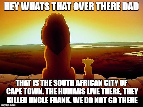 Lion King Meme | HEY WHATS THAT OVER THERE DAD THAT IS THE SOUTH AFRICAN CITY OF CAPE TOWN. THE HUMANS LIVE THERE, THEY KILLED UNCLE FRANK. WE DO NOT GO THER | image tagged in memes,lion king | made w/ Imgflip meme maker