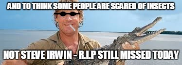 AND TO THINK SOME PEOPLE ARE SCARED OF INSECTS NOT STEVE IRWIN- R.I.P STILL MISSED TODAY | image tagged in steve irwin,crocodile hunter,thug life,rip | made w/ Imgflip meme maker