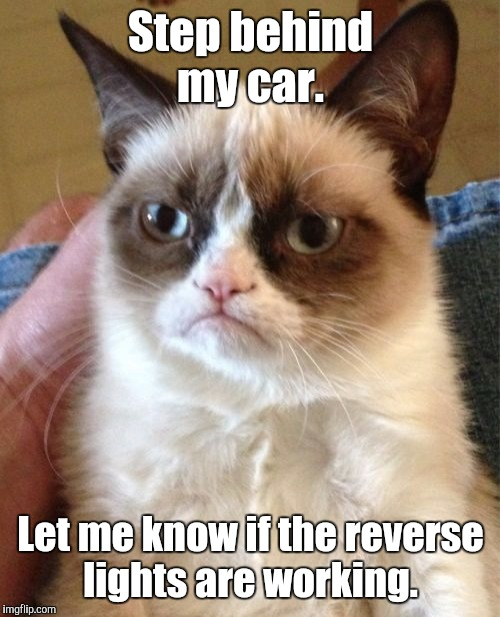 Grumpy Cat Meme | Step behind my car. Let me know if the reverse lights are working. | image tagged in memes,grumpy cat | made w/ Imgflip meme maker