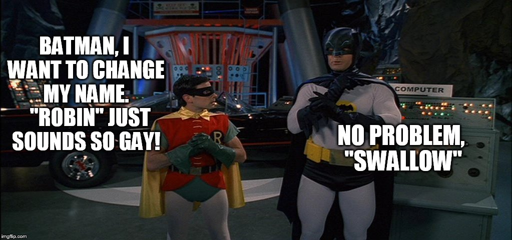 "Meanwhile, in the Batcave... | BATMAN, I WANT TO CHANGE MY NAME.   ""ROBIN"" JUST SOUNDS SO GAY! NO PROBLEM, ""SWALLOW"" 