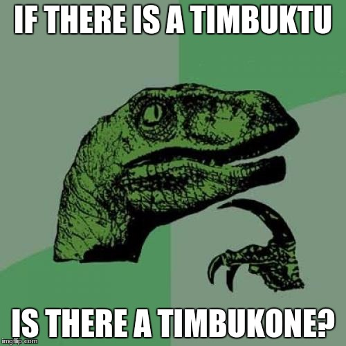 Philosoraptor Meme | IF THERE IS A TIMBUKTU IS THERE A TIMBUKONE? | image tagged in memes,philosoraptor | made w/ Imgflip meme maker