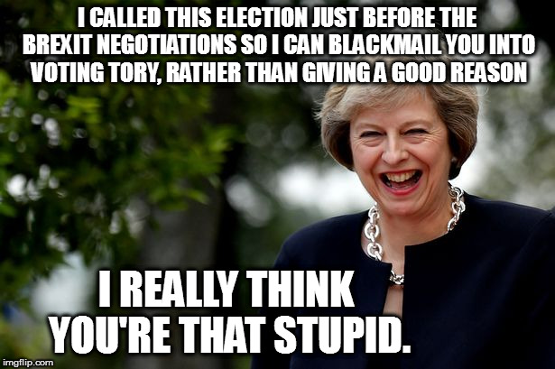 I CALLED THIS ELECTION JUST BEFORE THE BREXIT NEGOTIATIONS SO I CAN BLACKMAIL YOU INTO VOTING TORY, RATHER THAN GIVING A GOOD REASON I REALL | image tagged in theresa may smile | made w/ Imgflip meme maker