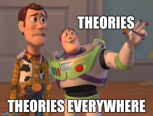 X, X Everywhere Meme | THEORIES THEORIES EVERYWHERE | image tagged in memes,x x everywhere | made w/ Imgflip meme maker
