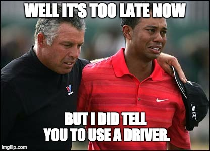 A driver would have kept him out of the rough with the police. | WELL IT'S TOO LATE NOW BUT I DID TELL YOU TO USE A DRIVER. | image tagged in tiger woods | made w/ Imgflip meme maker