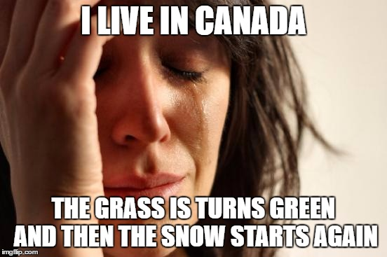First World Problems Meme | I LIVE IN CANADA THE GRASS IS TURNS GREEN AND THEN THE SNOW STARTS AGAIN | image tagged in memes,first world problems | made w/ Imgflip meme maker