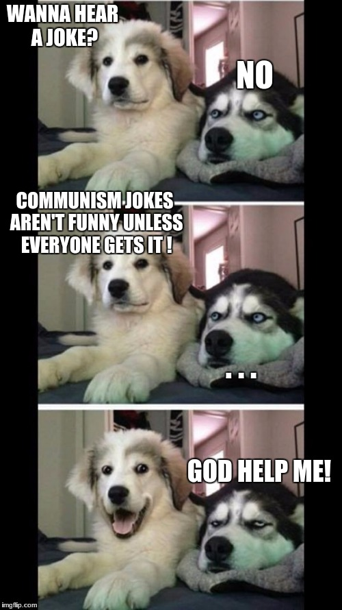 Bad puns pyrenees | WANNA HEAR A JOKE? NO COMMUNISM JOKES AREN'T FUNNY UNLESS EVERYONE GETS IT ! GOD HELP ME! . . . | image tagged in bad puns pyrenees | made w/ Imgflip meme maker