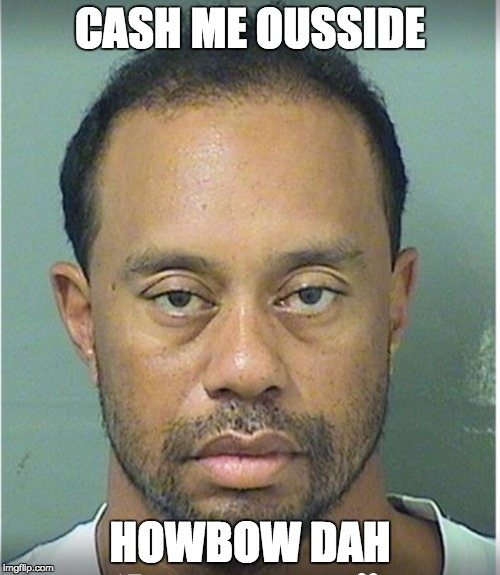 CASH ME OUSSIDE HOWBOW DAH | image tagged in tiger woods mug shot | made w/ Imgflip meme maker
