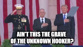 AIN'T THIS THE GRAVE OF THE UNKNOWN HOOKER? | image tagged in trumpmemorial | made w/ Imgflip meme maker