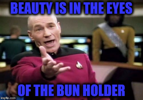 Picard Wtf Meme | BEAUTY IS IN THE EYES OF THE BUN HOLDER | image tagged in memes,picard wtf | made w/ Imgflip meme maker