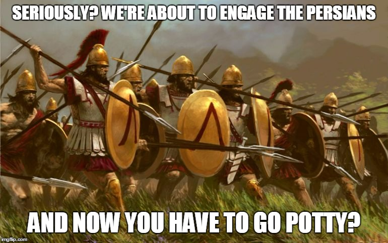 SERIOUSLY? WE'RE ABOUT TO ENGAGE THE PERSIANS AND NOW YOU HAVE TO GO POTTY? | made w/ Imgflip meme maker