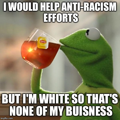 But Thats None Of My Business Meme | I WOULD HELP ANTI-RACISM EFFORTS BUT I'M WHITE SO THAT'S NONE OF MY BUISNESS | image tagged in memes,but thats none of my business,kermit the frog | made w/ Imgflip meme maker