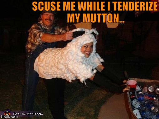 SCUSE ME WHILE I TENDERIZE MY MUTTON,,, | image tagged in redneck lovin | made w/ Imgflip meme maker