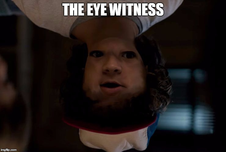stranger stranger things | THE EYE WITNESS | image tagged in stranger stranger things | made w/ Imgflip meme maker