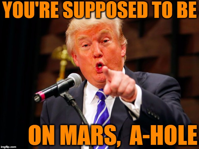 trump point | YOU'RE SUPPOSED TO BE ON MARS,  A-HOLE | image tagged in trump point | made w/ Imgflip meme maker