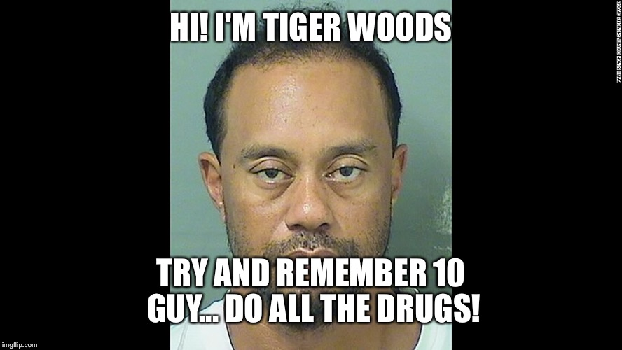 HI! I'M TIGER WOODS TRY AND REMEMBER 10 GUY... DO ALL THE DRUGS! | made w/ Imgflip meme maker