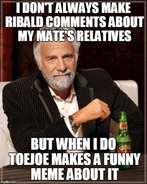 The Most Interesting Man In The World Meme | I DON'T ALWAYS MAKE RIBALD COMMENTS ABOUT MY MATE'S RELATIVES BUT WHEN I DO TOEJOE MAKES A FUNNY MEME ABOUT IT | image tagged in memes,the most interesting man in the world | made w/ Imgflip meme maker