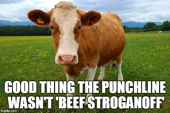 GOOD THING THE PUNCHLINE WASN'T 'BEEF STROGANOFF' | made w/ Imgflip meme maker
