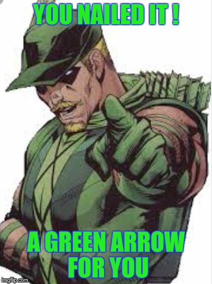 YOU NAILED IT ! A GREEN ARROW FOR YOU | image tagged in green arrow | made w/ Imgflip meme maker