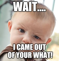 Skeptical Baby Meme | WAIT.... I CAME OUT OF YOUR WHAT! | image tagged in memes,skeptical baby | made w/ Imgflip meme maker