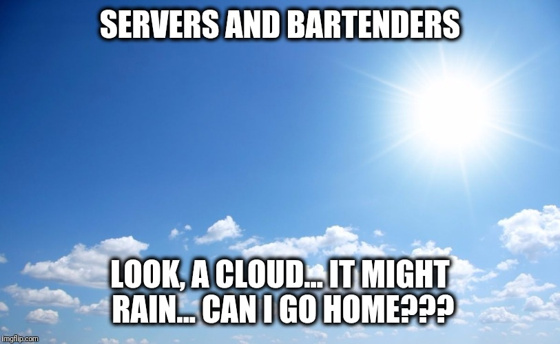 Sunny day | SERVERS AND BARTENDERS LOOK, A CLOUD... IT MIGHT RAIN... CAN I GO HOME??? | image tagged in sunny day | made w/ Imgflip meme maker