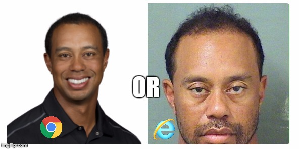 How do you search for tiger? | OR | image tagged in tiger woods mug shot,google chrome,internet explorer,funny meme | made w/ Imgflip meme maker