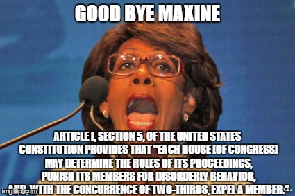 "GOOD BYE MAXINE ARTICLE I, SECTION 5, OF THE UNITED STATES CONSTITUTION PROVIDES THAT ""EACH HOUSE [OF CONGRESS] MAY DETERMINE THE RULES OF I 