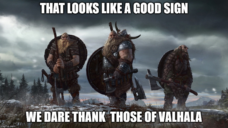 THAT LOOKS LIKE A GOOD SIGN WE DARE THANK  THOSE OF VALHALA | made w/ Imgflip meme maker