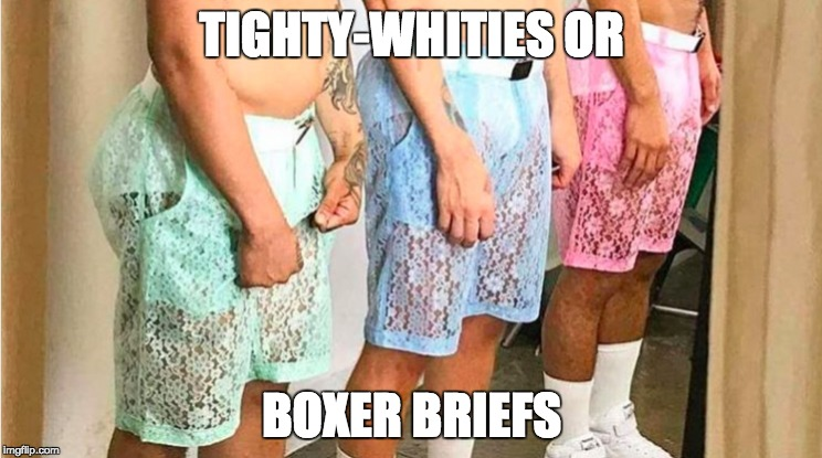 lace shorts | TIGHTY-WHITIES OR BOXER BRIEFS | image tagged in memes,funny memes,romper | made w/ Imgflip meme maker