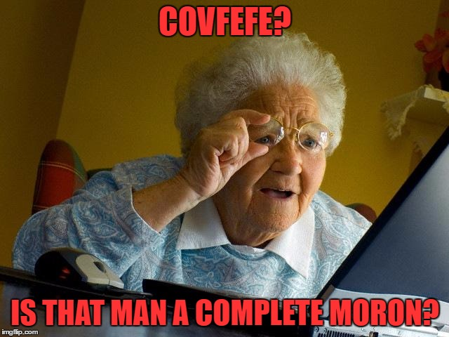 Grandma Finds The Internet Meme | COVFEFE? IS THAT MAN A COMPLETE MORON? | image tagged in memes,grandma finds the internet | made w/ Imgflip meme maker
