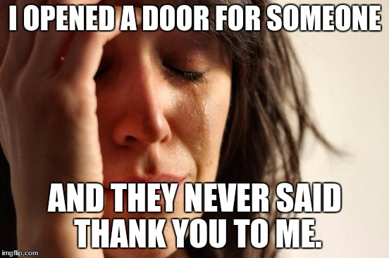First World Problems Meme | I OPENED A DOOR FOR SOMEONE AND THEY NEVER SAID THANK YOU TO ME. | image tagged in memes,first world problems | made w/ Imgflip meme maker