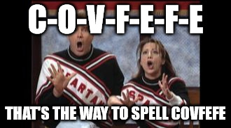 Cheer for COVFEFE | C-O-V-F-E-F-E THAT'S THE WAY TO SPELL COVFEFE | image tagged in trump,covfefe | made w/ Imgflip meme maker