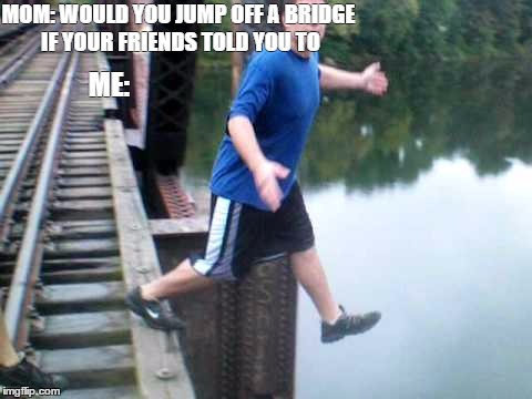 When you do something bad and you say its because your friends told you to do so | MOM: WOULD YOU JUMP OFF A BRIDGE IF YOUR FRIENDS TOLD YOU TO ME: | image tagged in suicide,mistakes,wtf,parents,response | made w/ Imgflip meme maker