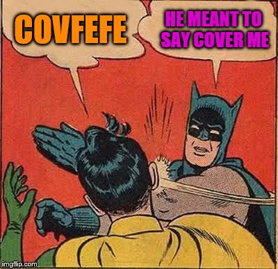 Batman Slapping Robin Meme | COVFEFE HE MEANT TO SAY COVER ME | image tagged in memes,batman slapping robin | made w/ Imgflip meme maker