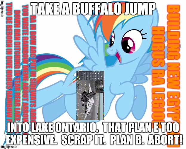 TAKE A BUFFALO JUMP INTO LAKE ONTARIO.  THAT PLAN E TOO EXPENSIVE.  SCRAP IT.  PLAN B.  ABORT! | made w/ Imgflip meme maker