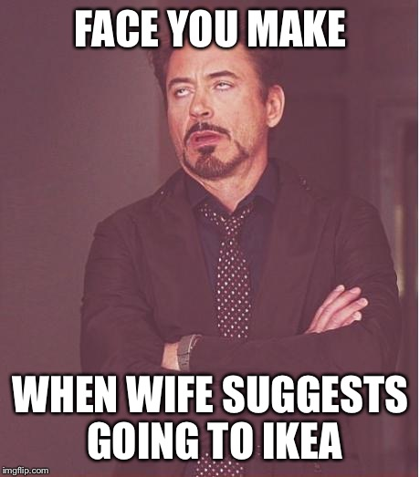 Face You Make Robert Downey Jr Meme | FACE YOU MAKE WHEN WIFE SUGGESTS GOING TO IKEA | image tagged in memes,face you make robert downey jr | made w/ Imgflip meme maker
