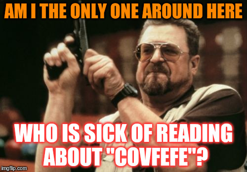 "Enough is enough! | AM I THE ONLY ONE AROUND HERE WHO IS SICK OF READING ABOUT ""COVFEFE""? 