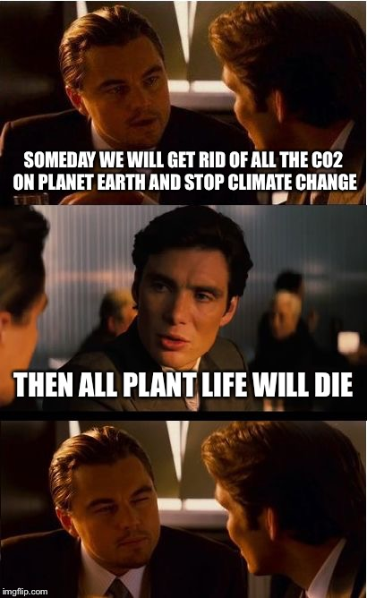 Inception Meme | SOMEDAY WE WILL GET RID OF ALL THE CO2 ON PLANET EARTH AND STOP CLIMATE CHANGE THEN ALL PLANT LIFE WILL DIE | image tagged in memes,inception | made w/ Imgflip meme maker