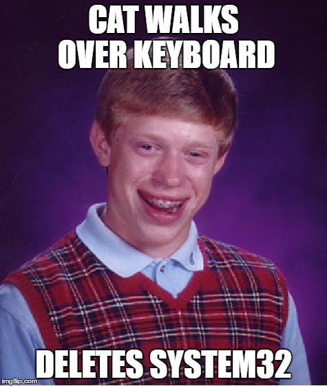 Bad Luck Brian Meme | CAT WALKS OVER KEYBOARD DELETES SYSTEM32 | image tagged in memes,bad luck brian | made w/ Imgflip meme maker