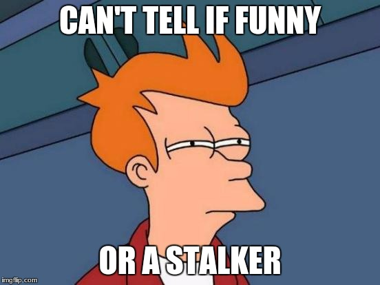 Futurama Fry Meme | CAN'T TELL IF FUNNY OR A STALKER | image tagged in memes,futurama fry | made w/ Imgflip meme maker