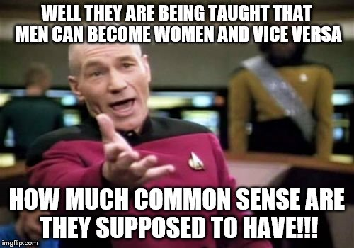 Picard Wtf Meme | WELL THEY ARE BEING TAUGHT THAT MEN CAN BECOME WOMEN AND VICE VERSA HOW MUCH COMMON SENSE ARE THEY SUPPOSED TO HAVE!!! | image tagged in memes,picard wtf | made w/ Imgflip meme maker