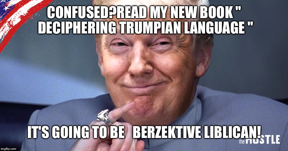 "CONFUSED?READ MY NEW BOOK "" DECIPHERING TRUMPIAN LANGUAGE "" IT'S GOING TO BE   BERZEKTIVE LIBLICAN! 