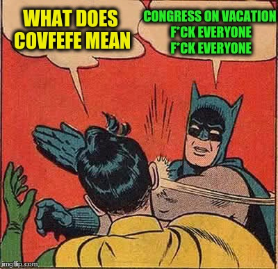 Batman Slapping Robin Meme | WHAT DOES COVFEFE MEAN CONGRESS ON VACATION F*CK EVERYONE F*CK EVERYONE | image tagged in memes,batman slapping robin | made w/ Imgflip meme maker