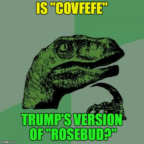 "Philosoraptor Meme | IS ""COVFEFE"" TRUMP'S VERSION OF ""ROSEBUD?"" 