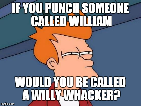 Futurama Fry Meme | IF YOU PUNCH SOMEONE CALLED WILLIAM WOULD YOU BE CALLED A WILLY WHACKER? | image tagged in memes,futurama fry | made w/ Imgflip meme maker