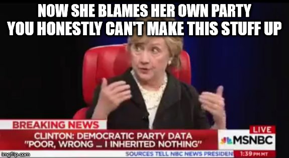 She still cannot take responsibility | NOW SHE BLAMES HER OWN PARTY YOU HONESTLY CAN'T MAKE THIS STUFF UP | image tagged in hillary clinton,liberal logic | made w/ Imgflip meme maker