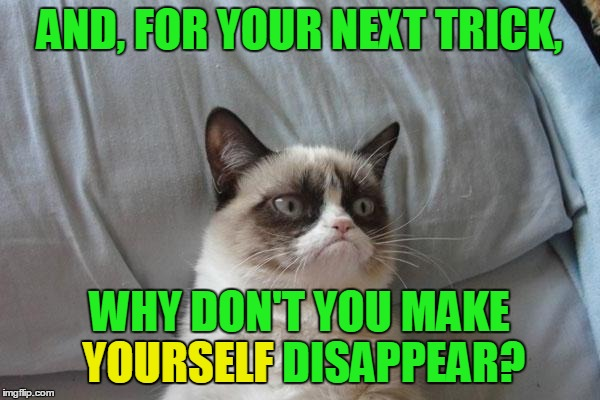 AND, FOR YOUR NEXT TRICK, WHY DON'T YOU MAKE YOURSELF DISAPPEAR? YOURSELF | made w/ Imgflip meme maker