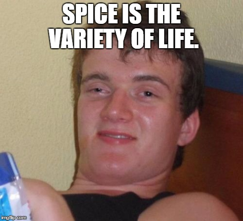 New week. Turn a saying on its head week. (10 guy is optional) Starting June 1 and through to June 8.  | SPICE IS THE VARIETY OF LIFE. | image tagged in memes,10 guy,funny | made w/ Imgflip meme maker