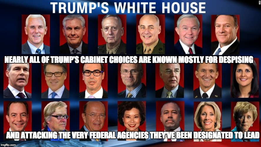Trump's Destructive Cabinet | NEARLY ALL OF TRUMP'S CABINET CHOICES ARE KNOWN MOSTLY FOR DESPISING AND ATTACKING THE VERY FEDERAL AGENCIES THEY'VE BEEN DESIGNATED TO LEAD | image tagged in donald trump,steve bannon,deconstruction,privatization,anti-government,corporatization | made w/ Imgflip meme maker