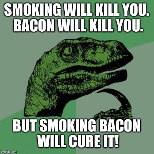 Deep thoughts of smoking and bacon  | SMOKING WILL KILL YOU. BACON WILL KILL YOU. BUT SMOKING BACON WILL CURE IT! | image tagged in memes,philosoraptor,funny | made w/ Imgflip meme maker